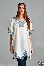 Kimono Sleeve Embroidered Dress 100% Cotton Top BOHO 8 10 12 14 16 Tunic Kaftan