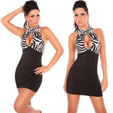 NEW SEXY ANIMAL PRINT BLACK MINI DRESS 8 10 LEOPARD/GIRAFFE PARTY/CLUB/EVENING
