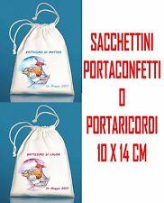 10pz SACCHETTI PORTACONFETTI BOMBONIERA Battesimo CERIMONIA personalizzati nome