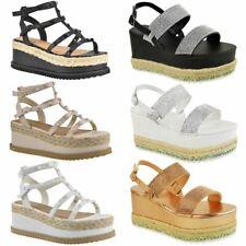 Womens Ladies Flatforms Wedge Diamante Sparkly Sandals Espadrilles Lace Up Size