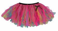 Ladies Flo Blue Yellow & Cerise Pink Festival Cyber Tutu Skirt Rave Fancy Dress