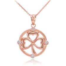 10K Rose Gold Irish Shamrock Clover Diamond Pendant Necklace