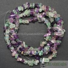 Natural Fluorite Gemstones 5-8mm Chip Beads Spacer Loose 35'' Bracelet Necklace