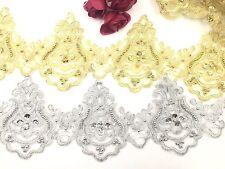 Vestido de boda Bridal Lace Adorno de oro y plata bordado Perla Cinta Ribete