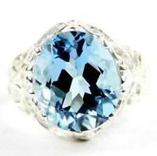 • SR114, 12x10mm 6 ct. Swiss Blue Topaz, Sterling Silver Ladies Ring -Handmade