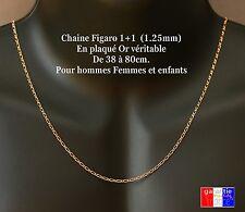 Chaine fine 2mm neuve en vrai plaqué or taille homme femme 38, 45, 50, 60, 70cm