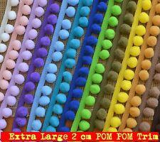 Jumbo Pom Pom Trim pompon extra large 2 cm, larghezza totale 35mm VARI COLORI