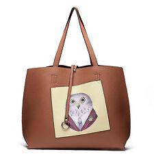 "Street Level Handbags Reversible Large Tote Bag Cute Owl Print + 6x8"" Coin Purse"