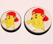 HIP MALE New 1 x Pikachu Pokemon Logo Ear Plug Screw Up Fastening Flesh Tunnel