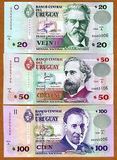 Uruguay, SET, 20;50;100 1994 P-74a;75a;76a Low S/Ns UNC