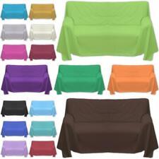 Sofaüberwurf 100% Baumwolle Überwurf 4 Maßen in 20 UNI Farben Bettüberwurf
