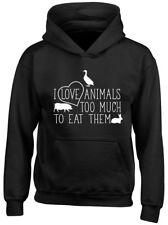 IO Amo gli animali troppo da mangiare Bambini Bambine Bambini Felpa Con Cappuccio Felpa Con Cappuccio