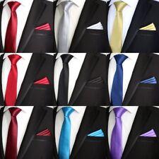 Multi Color Solid 7CM Silk man tie handkerchief set Plain Wedding Party Ties