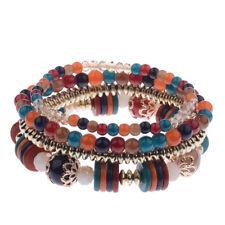 Fashion Ladies Bracelet Multilayer Beaded Tassel Elastic Charm Bracelets Sets