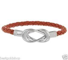 QVC Steel by Design Interlocking Curb Basket Braided Orange Leather Bracelet