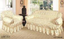 Cream Jacquard (Poly Cotton) Sofa Cover  / Alternate to Sofa Throw