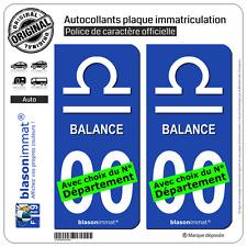 2 Stickers autocollant plaque immatriculation Auto : Balance Symbole