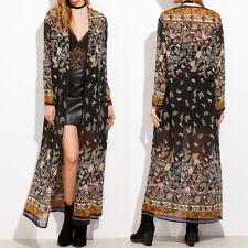 UK Women Chiffon Floral Kimono Long Boho Tops Cardigan Beach Holiday Coat Jacket