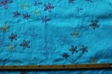 Baumwollstoff (€19/m²) 0,5m gestickte farbige Blumen Blätter 1,45m breit