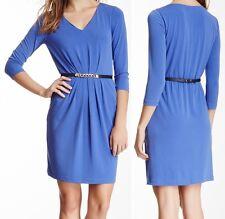 Tahari Peri Blue Belted Stretch Jersey Luci Dress w/Pockets - MSRP $124