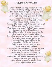 An Angel never dies, baby child loss graveside memorial keepsake card c12