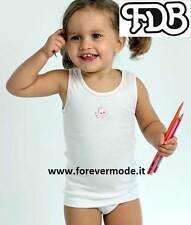 Canottiera bambina FDB spalla larga in puro cotone con profilo e stampa art 508S