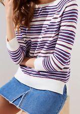 Ann Taylor LOFT Striped 3/4 Sleeve Sweater Size M, L, LP, XL Petal Blue Color