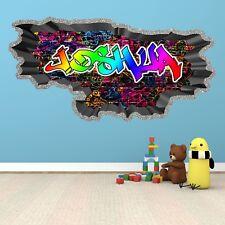 Custom 3D Graffiti Personalized Vinyl Wall Sticker Diy Room Decor Kids