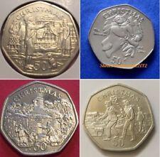 1980 -2016 Isola di Man 50p Natale MONETE CINQUANTA Pence Coin