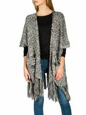 CASPAR Damen Vintage Fransen Strickjacke Cardigan lang Schwarz für Gr. S bis XL