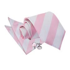 New DQT Striped Men's Tie, Handkerchief & Cufflinks 3 pc Set - Baby Pink & White