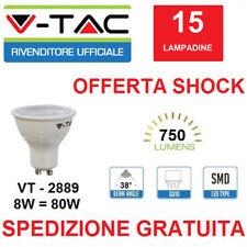15 LAMPADINE LED V-TAC FARETTO GU10 VT-2889 8W=80W LED 750LM 38° CON LENTI