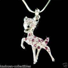 w Swarovski Crystal Purple BAMBI DEER Fawn Charm Pendant Chain Necklace Xmas New