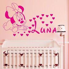 Minnie Baby Mickey Mouse Bambini Personalizzata Nome Camera Adesivo Parete di qualità font Disney