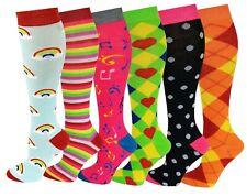 6 Pairs Women's Fancy Design Multi Colorful Patterned Knee High Socks 9-11