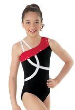 NEW Red White Black Foil Dot Stones Dance Gymnastics Leotard Child Sizes