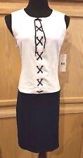 Ralph Lauren Navy/White Colorblock Lace-Front  Stretch Knit Dress - $149