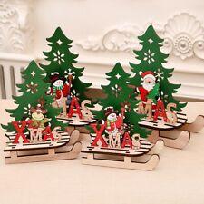 Wood EIK Sled Snowman Ornaments Merry Christmas Home Decor Xams Tree Supplies
