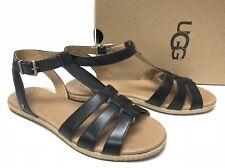 UGG Australia LANETTE Black LEATHER ANKLE STRAP SANDALS 1011551 Strappy Shoes