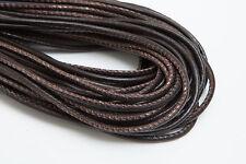 Lederschnur (ab 3,5€/m) Gesäumt 2,5 mm. Braun. Lederband. Genäht. Lederriemen
