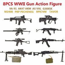 1-8pcs 1:6 WWII Rifle Machine Gun Model Puzzles Building Action Figure