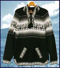 Peru Alpaka Pullover schwarz Gr. M L XL XXL Alpaca Wolle Lama Ethno Muster Inka