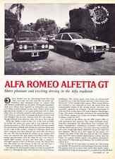 1976 ALFA ROMEO ALFETTA GT  ~  GREAT ORIGINAL 4-PAGE ROAD TEST / ARTICLE / AD