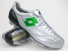 Lotto Mens Rare Zhero Leggenda FG Leather J8723 Silver Black Soccer Cleats Boots