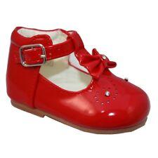 Pour Bébé Fille Brillant Rouge Nœud Espagnol des brevets T Bar Party Chaussures de marche 2-6