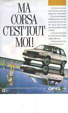 """PUBLICITE ADVERTISING   1987  OPEL CORSA """" elle est comme Moi"""""""