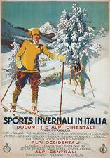 Tv45 Vintage A3 1926 de deportes de invierno Italia Italiana de esquí ESQUÍ Cartel viaje