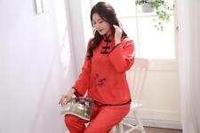 New Chinese Style Women Silk Pajamas Sets Sleepwear Nightdress Nightgown #818