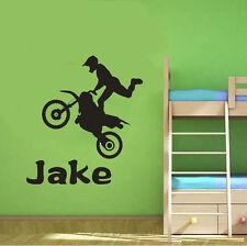 Wall Stickers custom name dirt bike vinyl decal decor Nursery kids removable
