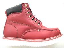 "Vegace - La Vega Men 6"" Work Boot Burgundy Wine Leather Moc Toe Water Resistant"